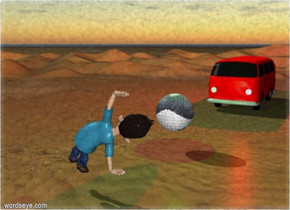 The big car is red. There is a desert. The car is on the desert. A cloudly blue sky. The [blatt]  ball is two meters tall.A man. The man is facing the ball. The man is three meters tall. the man is facing the ball. the man is five meters in front of the ball. the car is ten meters behind the ball. The ball is one meter over the ground. A red light is two meters above the car.A bright green light is one meter over the ball.