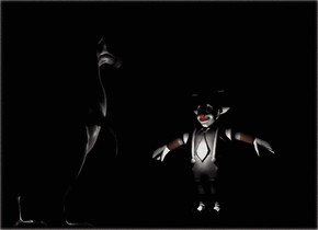 a 199 feet tall white dodo is -199.36 feet above and -183.0 feet behind the 1st dodo. it is facing north.  the ground is black. the ambient light is black. it is night. the camera light is black.   a 200 feet tall solid white clown is 200 feet behind the dodo. a white light is in front of the clown. it is 100 feet above the ground