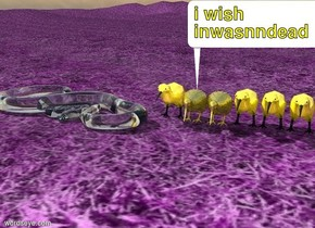 the glass snake is on the ground next to 6 kiwi birds.  the kiwi birds are made of gold.  the ground is grass.  the ground is violet.