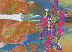 a gold trumpet.the trumpet leans 90 degrees to the front.a gold saxophone is 4 inch right of the trumpet..a wood double bass is behind the saxophone.the double bass leans 90 degrees to left.ambient light is gray.ground is silver.