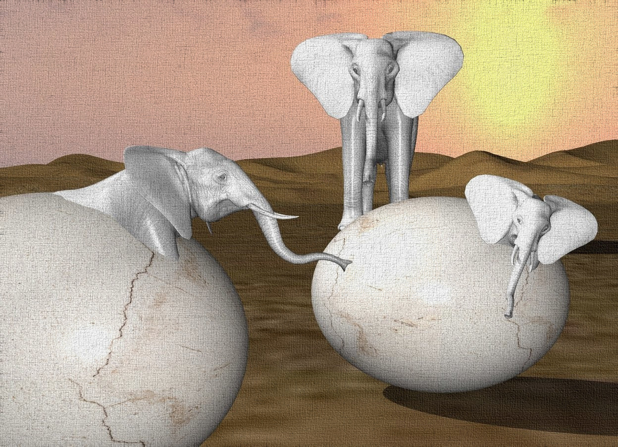 Input text: a 1st very large [Cracked] egg. a 1st extremely tiny white elephant is -.7 foot in front of the egg. the elephant is -.7 foot over the egg. the elephant is -.7 foot to the right of the egg. the elephant is leaning to the left.   a 2nd very large [Cracked] egg is to the left of the 1st egg. it is .5 foot in front of the first egg. a 2nd extremely tiny white elephant is -.7 foot in front of the 2nd egg. the 2nd elephant is -.7 foot over the 2nd egg. the 2nd elephant is facing right. the 2nd elephant is -.8 foot to the right of the 2nd egg. the 2nd elephant is leaning 20 degrees to the back.  an small white elephant is 10 feet behind the 2nd elephant.