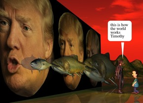 the [trump] wall. the first fish is in front of and -6 feet to the left of the wall. it is facing left. it is 19 inches above the ground. a second very huge fish is -6 inches to the right of the first fish. it is 16 inches above the ground. it is facing left. the third very enormous fish is -17 inches to the right of the second fish. it is on the ground. it is facing left. it is dusk. the sun is red. the gold light is 3 feet in front of the second fish. the small woman is 4 feet in front of the wall. the boy is 6 inches in front of the woman. he is 2 feet tall. he is facing the woman.
