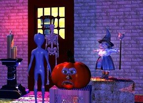 a large pumpkin is on a wood crate. the crate is upside down. 1st large orange eye is -1.1 feet to the left of and -1.2 feet above and -0.1 feet to the front of the pumpkin. 2nd large orange eye is -1 feet to the right of and -1.2 feet above and -0.1 feet to the front of the pumpkin.  a large [orange] nose is -1.45 feet above and -1.1 feet to the right of and -0.1 feet to the front of the pumpkin. a large upside down [orange] mouth is -1.7 feet above  and -0.1 feet to the front of the pumpkin. a [straw] hay bale is behind and -0.8 feet right of the crate. the bale leans 90 degrees to the front. a small witch is -0.1 feet above the hay bale. she faces southwest. the shirt of the witch is  5 inch tall [pattern]. the hat of the witch is shiny. a small broom is -0.6 feet to the right of and -2.5 feet above and -0.2 feet to the front of the witch. it is upside down. it leans to the front. 1st 10 feet long and 10 feet tall and 1 inch thick [brick]wall is 3 feet behind and 3 feet left of the crate. a door is right of the 1st wall. 2nd 4 feet long and 3 feet tall and 1 inch thick [brick] wall is above the door. 3rd 10 feet long and 10 feet tall and 1 inch thick [brick] wall is right of the door. a [stone] sidewalk is in front of the door and -0.1 feet above the ground. a 4.5 feet tall flat skeleton is 0.1 feet to the front of and -6.5 feet above the door. a 2.5 feet tall [marble] pedestal is -1.5 feet  to the right of and 0.5 feet in front of the 1st wall. 1st large candle is -0.8 feet to the right of and on the pedestal. 2nd very large candle is left of the 1st candle. 3rd large candle is in front of the 1st candle and -0.1 feet above the pedestal. the ground is grass. 5 orange lights are 3 inches above and 4 inches to the back of the door.the window of the door is transparent. 4th 12 feet tall and 15 feet long wood wall is 4 feet behind the door. a 6 feet tall frankenstein is 10 inches behind and -5.7 feet to the right of the door. the camera light is baby blue. 2 red lig