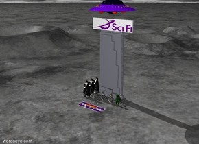 A [Sci] wall is 5 feet tall. It stands on top of a skyscraper which is 30 feet tall. 3 ghosts are in front of the building. A ufo is 7 feet above the skyscraper. A [siffy] rug is 5 feet in front of the ghosts. 12 flames are on top of the [siffy] rug. The [siffy] rug is 12 feet long. 3 vampires stand to the left of the ghosts. 3 aliens stand to the right of the ghosts.
