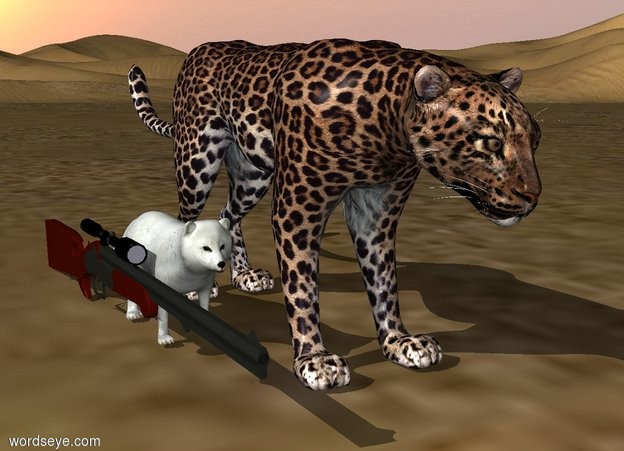 Input text: a gun is between a fox and leopard