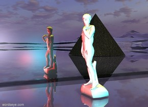 The extremely very wide shiny black mirror is on the glass sand mountain range. The very tiny white statue is one foot to the right of the mirror. the huge dark gray sand pyramid is 5 feet behind and 7 feet to the right of the statue. the pyramid is facing left. The mirror is facing right. The yellow light is 1 foot above the statue. A cyan light is a foot right of the statue. A red light is in front of the statue.