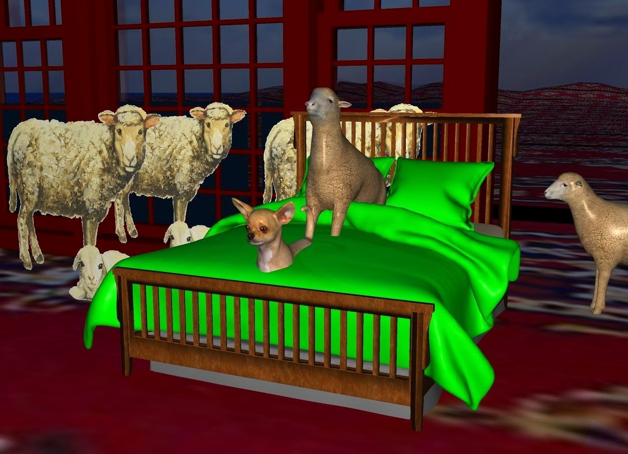 Input text: a bed.the blanket of the bed is lime green.the pillow of the bed is lime green.a 1st sheep is left of the bed.a 2nd sheep is right of the 1st sheep and behind the bed. a 3rd sheep is left of the 2nd sheep.a 4th sheep is behind and  -7 inch right   of the bed.the 4th sheep is facing the dog.sun is ink blue.ground is [texture].a 5th sheep is 15 inch in the bed.the 5th sheep leans 20 degrees to back.behind the 3rd sheep is a very huge window.a 30 inch tall dog is -14 inch in front of the 5th sheep.