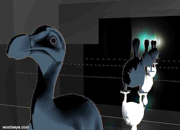 Input text: 20 feet tall solid white dodo. A   1 feet wide shiny white sphere. It is -1.95 feet above and -4.63 feet right of and -5 feet in front of the dodo.  A 0.6 feet wide black dull sphere. It is -1.74 feet above and -4.23 feet right of and -4.62 feet in front of the dodo .  A 1 feet wide shiny white sphere. It is -1.95 feet above and -4.63 feet left of and -5 feet in front of the dodo.  A 0.6 feet wide black dull sphere. It is -1.74 feet above and -4.23 feet left of and -4.62 feet in front of the dodo.    a 1st dim vanilla light is -4.1 feet right of and -4.5 feet in front of and -2.0 feet above the dodo.    a 2nd dim cyan light is -4.1 feet left of and -4.5 feet in front of and -2.0 feet above the dodo.  the camera light is black. the ambient light is gingerbread brown. the sky is black. the ground is shiny black.  a 50 feet high and 150 feet wide and 1 feet deep 1st silver wall is 20 feet behind the dodo.  a 50 feet high and 150 feet wide and 1 feet deep 2nd silver wall is 20 feet in front of the dodo.