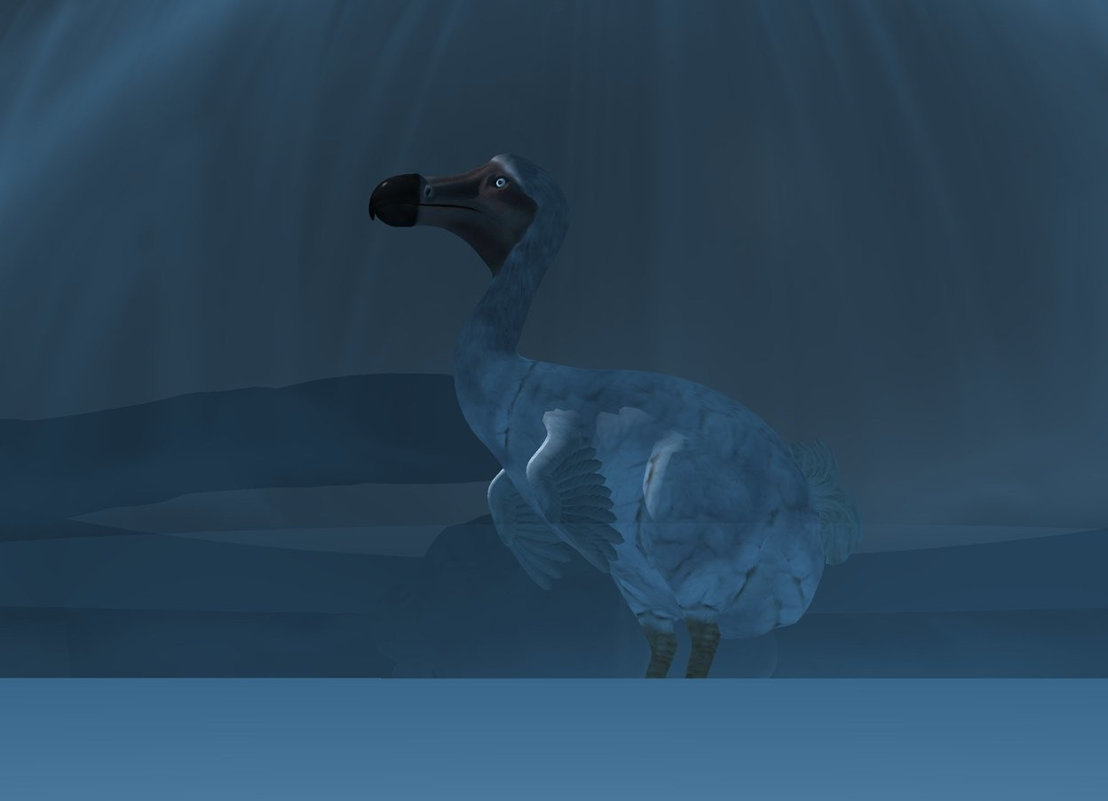 Input text: a 20 feet tall dodo is above the ground. a 90 feet tall clear sphere is -60 feet above the dodo. the ground is white. a white light is above and in front of the dodo. the sky is [fog]. the ambient light is pond blue. it is night.