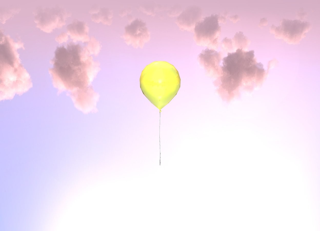 Input text: there is a shiny yellow balloon 24 feet above the ground. the ground is silver. the sun is pink.