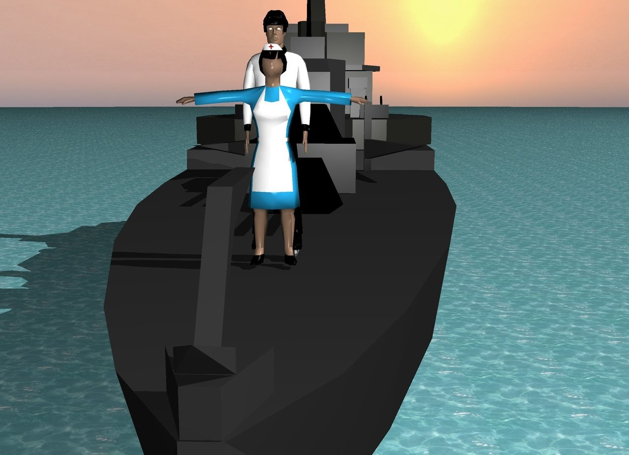 Input text: There is a ship. The ground is water. On the ship is a big woman.  The woman faces north. in front of  the woman is a big man. The man faces the woman. The man is 14 feet high.