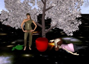 There is a big apple tree. In front of the tree is a big woman. To the right of the woman is an enormous  big apple. To the left of the woman is a big snake. To the right of the apple is a big man. The man faces the apple. The apple is next to the man.  The ground is sky. The apple is 5 feet tall.