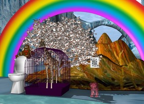 the big purple cage. the tiny giraffe in the cage. the tiny tiger tree is behind the cage. the tiny rainbow is behind the tree. the pond is  in front of the cage. the toilet is next to the cage. the large sitting man is on the toilet. the man's shirt is van gogh. the pink lion is two feet to the right of the cage. the upright large jack of clubs is one foot above the lion. the tiny star mountain is behind the lion.