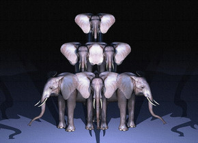 a 1st elephant.  a 2nd elephant is -6 foot to the right of the 1st elephant. the 2nd elephant is facing southeast.  a 3rd elephant is -6 feet to the left of the 1st elephant. the 3rd elephant is facing southwest.  a 4th elephant is -5 feet to the left of the 1st elephant. the 4th elephant is -7 feet behind the 1st elephant. the 4th elephant is 4 feet over the ground.  a 5th elephant is -5 feet to the right of the 1st elephant. the 5th elephant is -7 feet behind the 1st elephant. the 5th elephant is 4 feet over the ground.  a 6th elephant is 1 feet over the 1st elephant. it is -2 feet behind the 1st elephant.  the ambient light is black. the camera light is cornflower blue. it is night.  1 pale blue light is 10 feet in front of the first elephant. the light is 4 feet over the ground.  a 2nd pale blue light is 10 feet in front of the 6th elephant. it is 8 feet over the ground