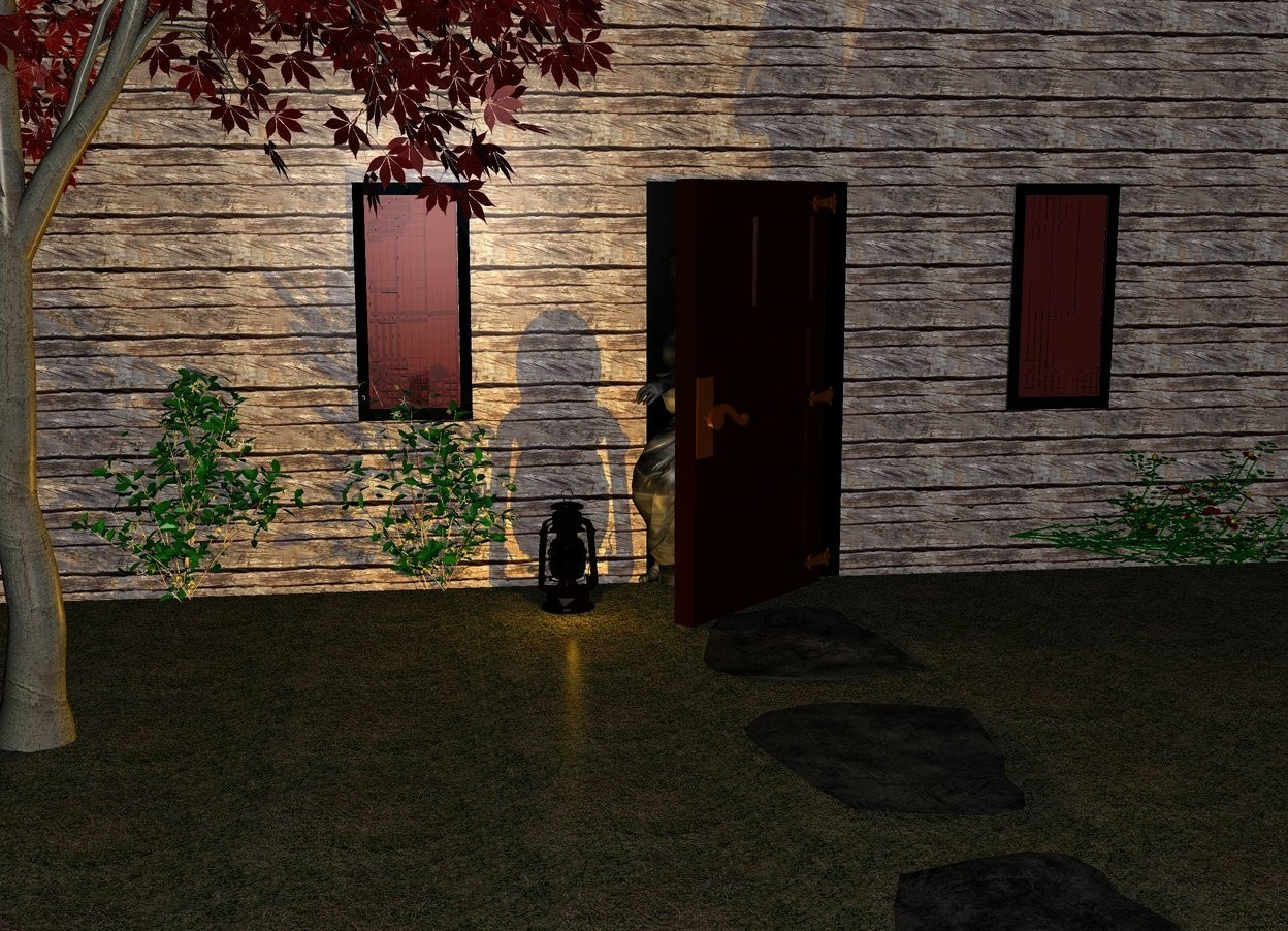 Input text: a big [wood] wall. the ground is grass. a door is -1 inch in front of the wall. the door is facing southeast. a black rectangle is .01 inch in front of the wall. the rectangle is 3.5 feet long. the rectangle is 7 feet deep. the rectangle is leaning 90 degrees to the north. a flat rock is 2 foot south of the rectangle. the rock is leaning 90 degrees to the north. the rock is on the ground. another flat rock is 1 foot south of the rock. the rock is leaning 90 degrees to the south. another flat rock is 1 foot south of the rock. the rock is leaning 90 degrees to the north. a plant is 2 feet east of the rectangle. a bush is 2 feet west of the rectangle. a shrub is .1 inch west of the bush. the shrub is facing north. a brown window is 3 feet west of the rectangle. the window is 3 feet off the ground. another brown window is 3 feet east of the rectangle. the window is 3 feet off the ground. a big lantern is on the ground 1 foot southwest of the rectangle. a small brown tree is 1 feet southwest of the rectangle. a [gray] statue is -2 feet in front of the rectangle. the statue is facing southwest. the statue is -2.8 feet west of the rectangle. it is night. a orange light is in front of the lantern.