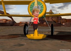 donald trump is in a large sombrero. an airplane is behind donald trump