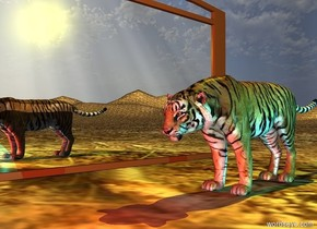 The very wide mirror is on the dirt mountain range. The small tiger is two feet to the right of the mirror. The mirror is facing right. The yellow light is 1 foot above the tiger. A cyan light is a foot right of the tiger. A red light is in front of the tiger.