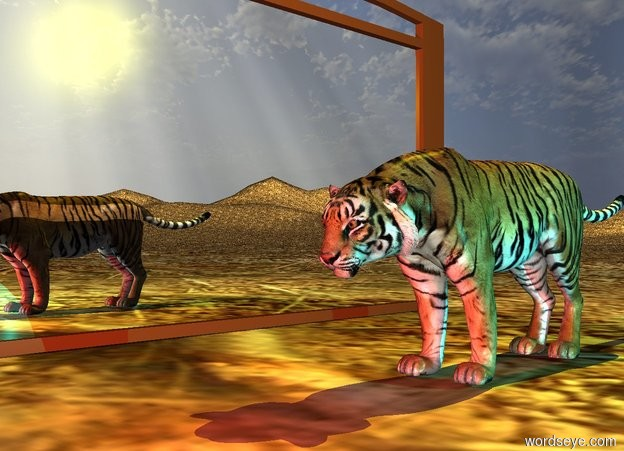Input text: The very wide mirror is on the dirt mountain range. The small tiger is two feet to the right of the mirror. The mirror is facing right. The yellow light is 1 foot above the tiger. A cyan light is a foot right of the tiger. A red light is in front of the tiger.