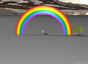 The huge bird is on a rainbow. On the right of rainbow there is a small tree. On the left of the rainbow there is a small tree. Behind the rainbow there is a huge pig. Next to the pig there is a small horse.