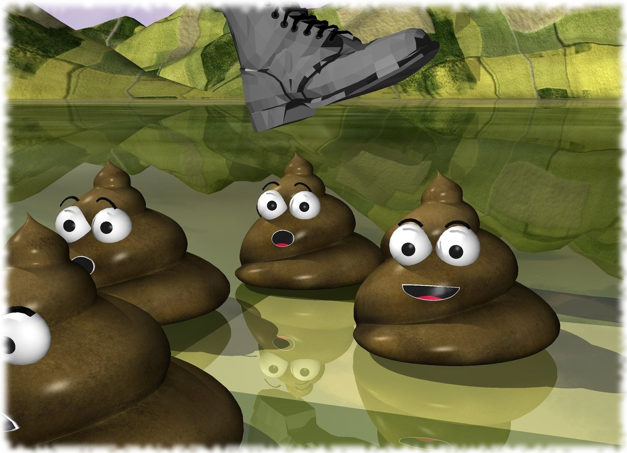 Input text: the second poop is in front and to the right of the first poop. the third poop is 6 inches to the left of the second poop. a fourth poop is 14 inches in front of the first poop. the ground is grass. the grey boot is .5 inches above the first poop. it is facing right. it is leaning 20 degrees to the back.
