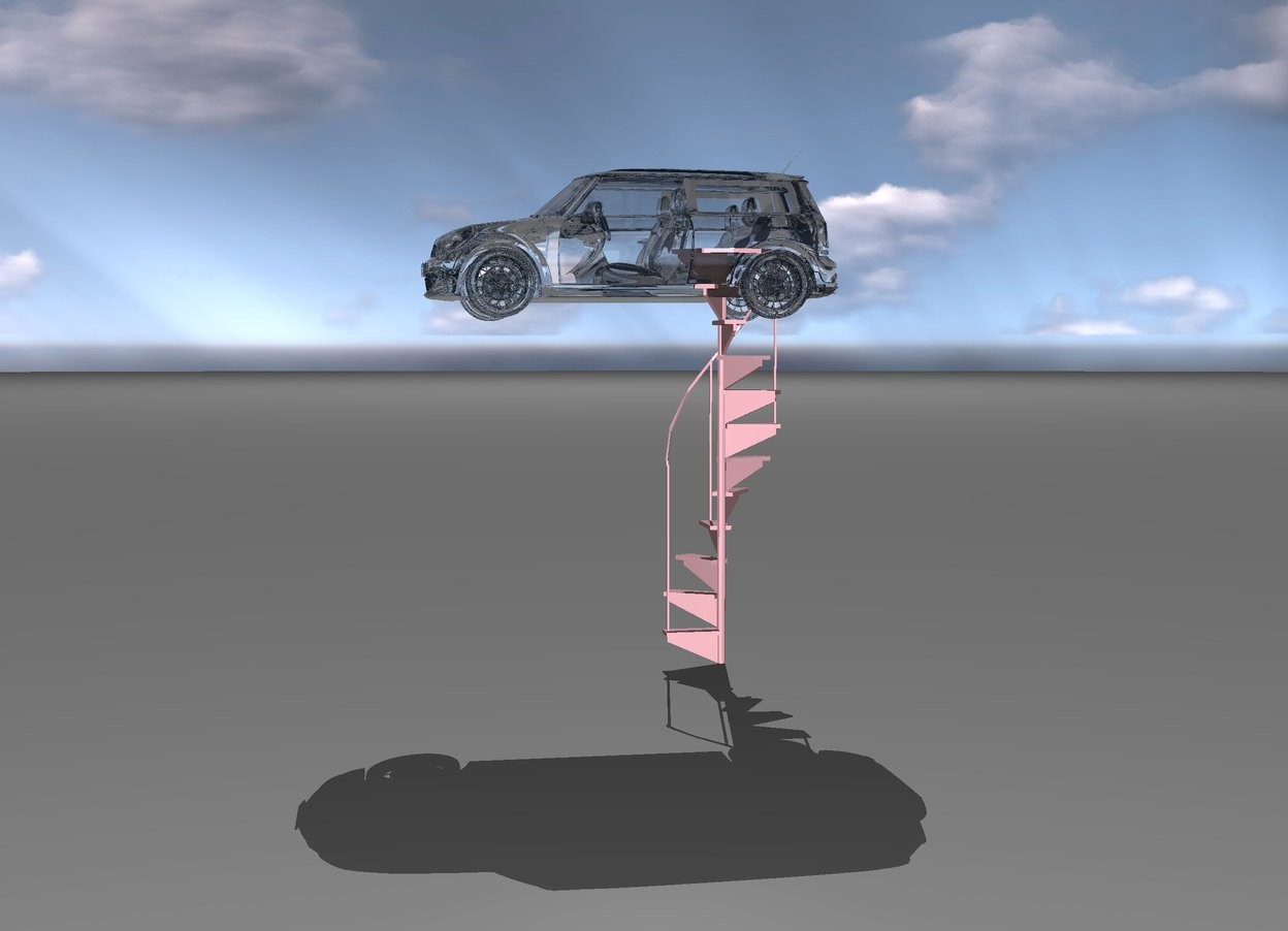Input text: a big glass car is on a long pink staircase.
