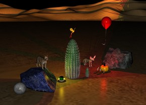 a desert. a moon. a orange pumpkin. a bird above a large cactus. 5 candles next to the pumpkin. a green apple in a bowl. a small cactus 2 feet next to the pumpkin. a red light above the pumpkin. a yellow light above the apple. a red balloon 2 feet above the pumpkin. a fox 1 feet behind the pumpkin. a rock on the ground. it is night. a small cat above the rock. a small bird next to the balloon. a rock right of the pumpkin.