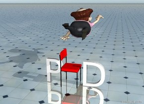 "The ""P"" is to the left of the small red chair. The ""D"" is to the right of the chair. The chair is facing right. The man is above and behind the chair. He is facing back. The ground is shiny tile. It is morning."