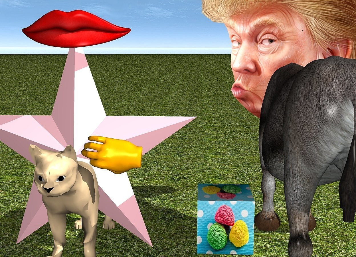 Input text: The large head is -2.3 feet in front of the donkey. It is 2.1 feet above the grass ground. a 1 feet tall [candy] cube is right of the donkey. a 0.6 feet tall mouth is -0.9 feet to the front of and on a 4 feet tall pink star. it faces back. a large tan cat is -2.7 feet to the back of the star. it faces back. a large orange hand is -1.9 feet left of and -2.4 feet above and 0.2 feet to the back of  the star. it leans 86 degrees to the left.