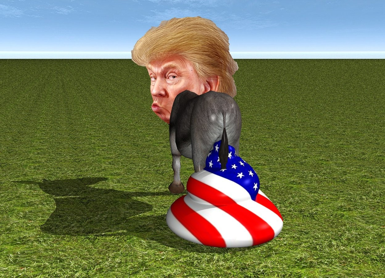 Input text: The large head is -2.3 feet in front of the donkey. It is 2.1 feet above the grass ground. the huge flag poop is -1.9 feet behind the donkey.