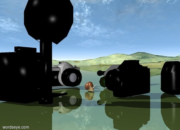 Input text: Three cameras are behind the snail. They are facing the snail. Three black cameras are in front of the snail. They are facing the snail. The ground is shiny grass.