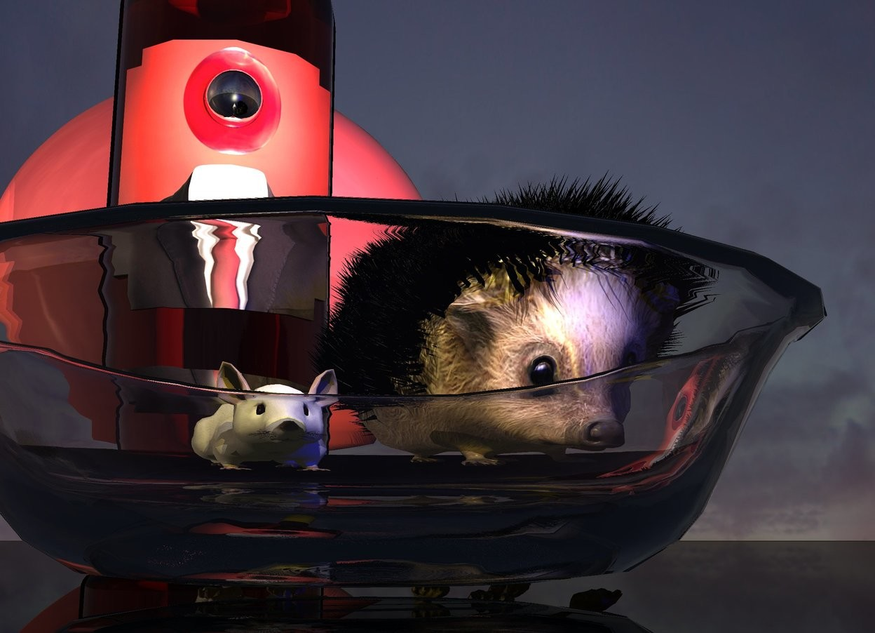 Input text: A clear bowl is on a shiny black lake. It is dusk. A light is above the bowl. A rat is behind the bowl. A hedgehog is right of the rat. A lemon light is below the rat. A blue light is in front of the hedgehog. A large bottle is behind the rat. The label of the bottle is [art]. A huge shiny scarlet sphere is 5 feet behind the hedgehog. A very tiny silver moon is -1 inches behind and 0.6 inches left of and 3 inches above the hedgehog.