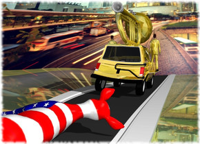 the gold car is on the road. the road is 100 feet long. the ground is shiny grass. the large [flag] deer is 15 feet behind the car. it is leaning 80 degrees to the right. it is -1 foot above the ground. the [road] wall is in front of the road. it is on the ground. it is 150 feet wide and 60 feet tall. the enormous gold trumpet is on the car. the small gold floor is 4 feet in the car. the gold man is -2 feet to the left of the floor. another gold man is -2 feet to the right of the floor.