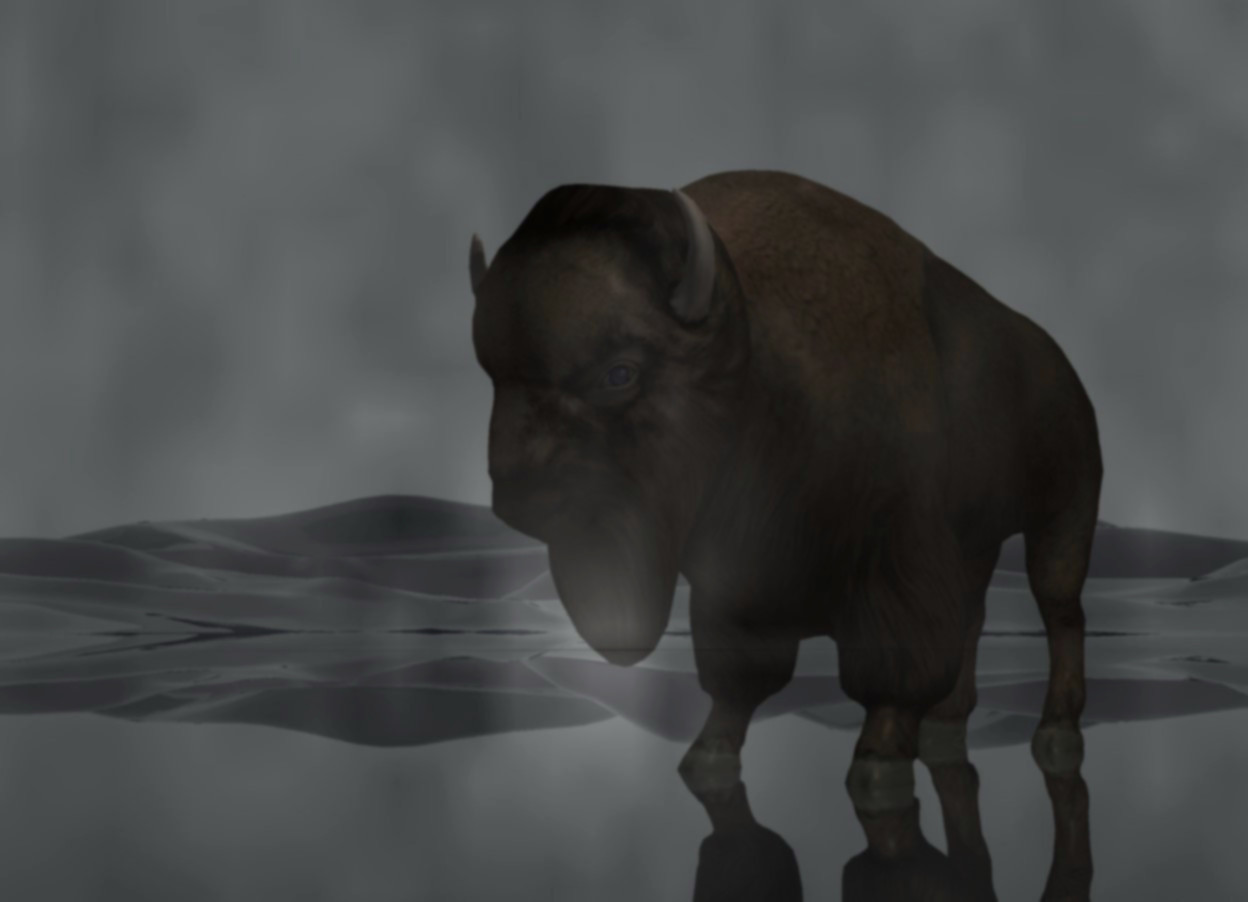 Input text: 1st 75 feet tall and 75 feet long and 0.01 feet thick [rot] wall. 2nd 100 feet tall and 100 feet long and 0.01 feet thick clear wall is 50 feet behind the 1st wall. the ground is transparent. the sky is charcoal. a bison is 3 feet behind the 2nd wall. it faces southwest. it is -0.1 feet above the ground. 5 gray lights are 3 feet behind the 1st wall. the sun's azimuth is 220 degrees. the sun's altitude is 20 degrees. the sun is gray. a dim linen light is 3 inches above the bison. the camera light is dim. 2 dim cream lights are 3 inches above and 3 inches to the front of the bison.