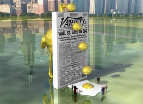 the [newspaper] wall is 5 feet wide. the huge gold egg is on the wall. a second huge gold egg is in front of the wall. it is 6 feet above the ground. a third huge gold egg is 11 inches in front of the wall. it is 4 feet above the ground. a fourth huge gold egg is 1.5 feet in front of the wall. It is 1.5 foot above the ground. the fifth very huge gold egg is in front of the wall. the ground is shiny grass. the gold ostrich is behind the wall. it is 9 feet tall. the city is in the background. three very  tiny people are to the right of the fifth egg. they are facing left. four very tiny people are in front of the fifth egg. they are facing back. two very tiny people are to the left of the fifth egg. they are facing right.