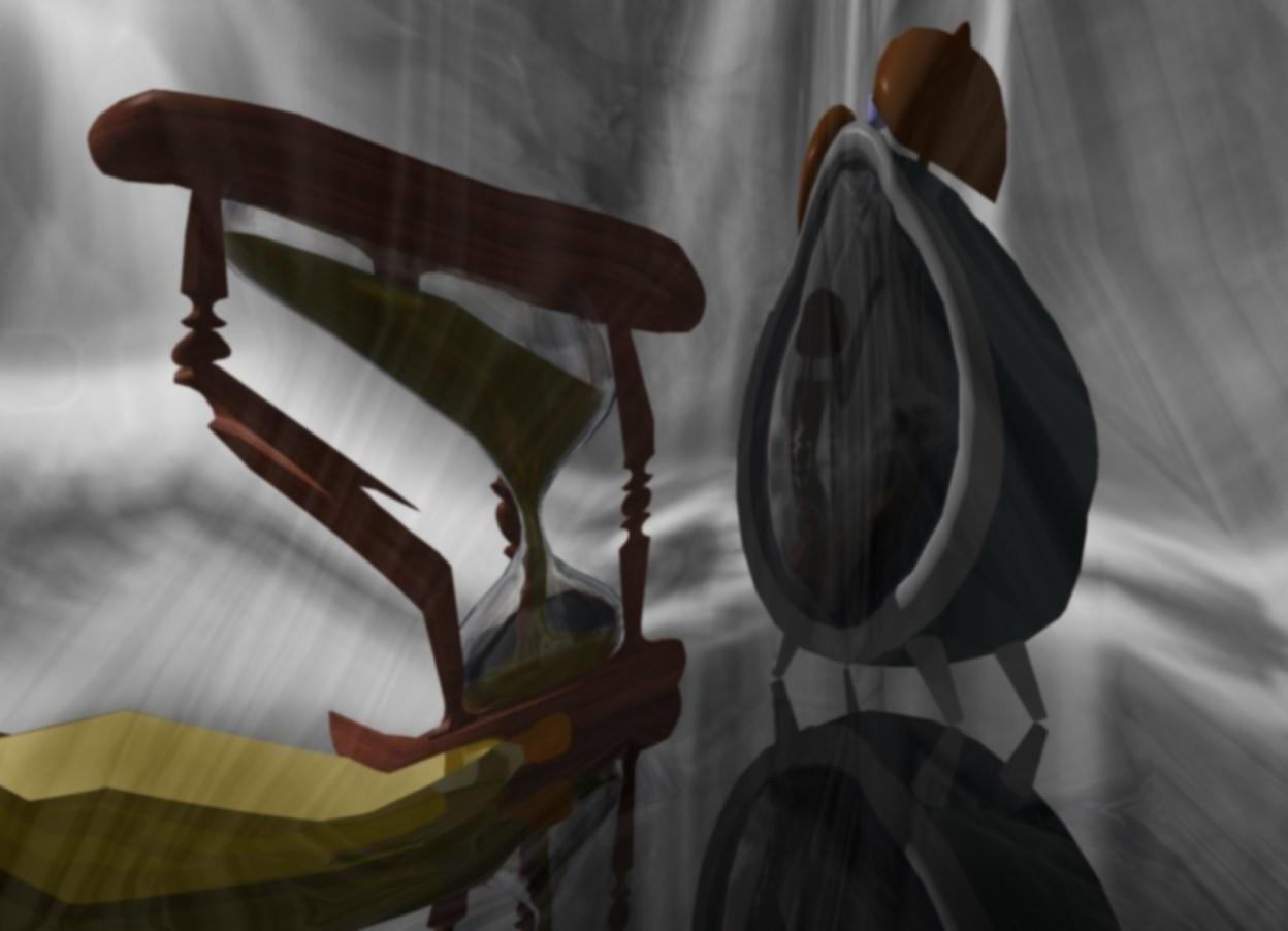 Input text: a 30 feet tall clear white man.clear ground.a 80 feet tall clock is 100 feet behind the man.the clock is facing southwest.a 60 feet tall hourglass is left of the clock.a 50 feet tall gold watch is in front of the hourglass.the watch is face up.[fog]sky.