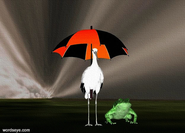 Input text: sky is rust [cloud].sky is 600 feet tall and 120 feet wide. ground is grass.ground is 200 feet tall.a 9 inch tall gray stork is 5 inch above the ground.camera light is white.ambient light is gold.-6 inch above the stork is a 9 inch tall umbrella.a 3 inch tall malachite green frog is right of the stork.