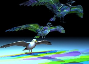 a 1st seagull. a 2nd clear seagull is -.5 inch above and -.5 inches in front of the 1st seagull. a 3rd clear seagull is -.5 inches above and -.5 inches in front of the 2nd seagull. the ground is white. 2 blue lights are over the 3rd seagull. 2 green lights are over the 2nd seagull. 2 gold lights are over the 1st seagull. the sun's azimuth is 1 degrees. it is night.