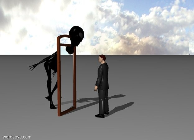 Input text: A blind man one meter in front of a 8 foot tall mirror. He is facing the mirror. Green alien is 9 feet tall and standing 2 feet behind the man.