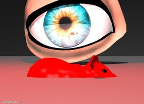 A reflective giant eyeball faces a red mouse. The mouse is one inch in the ground. A red light is above the mouse. The sky is rough. The sky is black.