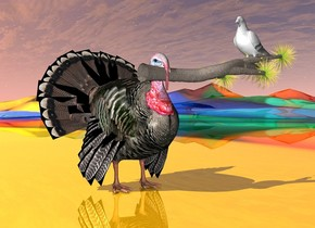 the turkey is on the shiny [fun] ground. the turkey is next to the white pigeon. the small tree is -6.1 inches in front of the turkey. it is leaning 90 degrees to the left. it is 1.8 feet above the ground. it is -2 feet to the right of the turkey. the pigeon is 6 inches in the tree. it is facing to the left.