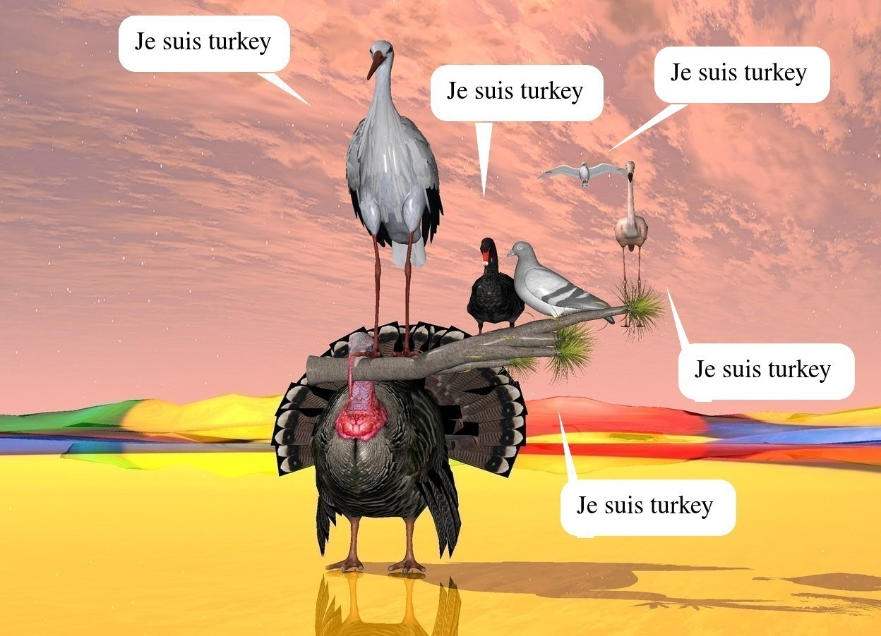 Input text: the turkey is on the shiny [fun] ground. the turkey is next to the white pigeon. the small tree is -6.1 inches in front of the turkey. it is leaning 90 degrees to the left. it is 1.8 feet above the ground. it is -2 feet to the right of the turkey. the pigeon is 6 inches in the tree. it is facing to the left. another small bird is to the left of the pigeon. another bird is to the left of the small bird. it is 9 inches in the tree. a small flamingo is to the right of the pigeon. a seagull is 6 feet behind and 2 feet above the pigeon.