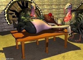 a table.a man is -6 inches above the table.the man is face up.a first large turkey is left of the table.the first turkey is facing the table.a apple is -4 inches above the man.the apple is -23 inches behind the man.a wall is 2 feet left of the first turkey.the wall is facing right.the wall is 60 feet long.a second large turkey is behind the table.it is night.a cabbage is -7 inches above the man.a broccoli is 3 inches in front of the cabbage.the ground is dirt.a 80% yellow light is 4 feet above the man.the wall is wood.