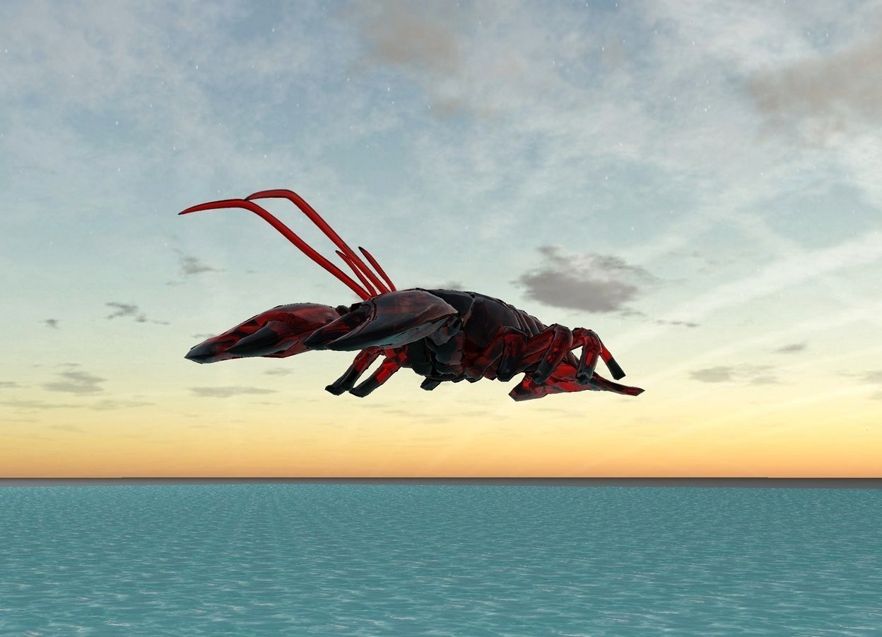 Input text: a gigantic glass lobster is 10 feet above the ocean