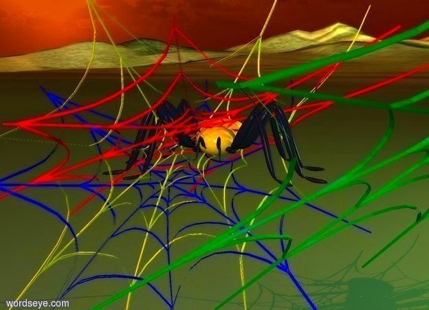 Input text: a 1st 10 inch tall red web.the 1st web leans 55 degrees to south.a 2nd 10 inch tall green web is in front of the 1st web.the 2nd web leans 45 degrees to south.a 3rd 10 inch tall blue web is -8 inch above the 1st web.the 3rd web leans 50 degrees to north. a 4th 10 inch tall yellow web is -9 inch above the 1st web. the 4th web is facing south.a 2 inch tall  orange spider is -4 inch above the 1st web.the spider is facing southwest.it is afternoon.sun is rust.ground is grass.ambient light is  malachite green.three forget me not blue lights.in front of the spider is a blue light.left of spider is a blue light.camera light is white.