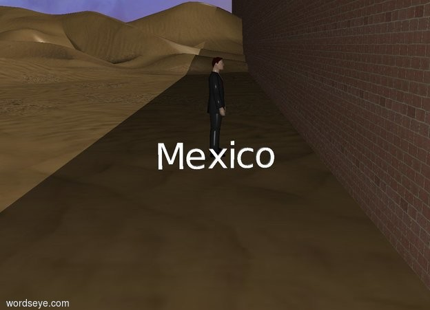"Input text: The brick wall is 1000 feet wide and 50 feet tall. A massive ""Mexico"" is 3 feet in front of the wall. A man is 2 feet to the left of ""Mexico"". The 1st apple is 100 feet behind the wall and 2 feet to the left of ""Mexico"". The man is facing the 1st apple. The second apple is 1 foot to the right of the wall and 50 feet in front of it. ""Mexico"" is facing the 2nd apple. 30 feet to the right of ""Mexico"" is the 1st black cube. The 1st cube is 5 feet wide, and 5 feet long. The 2nd cube is yellow and in front of the 1st cube. The 2nd cube is 5 feet wide, and 5 feet long. The 3rd cube is yellow and on top of the 1st cube. The 3rd cube is 5 feet wide, and 5 feet long. The 4th cube is black and on top of the 2nd cube. The 4th cube is 5 feet wide, and 5 feet long."