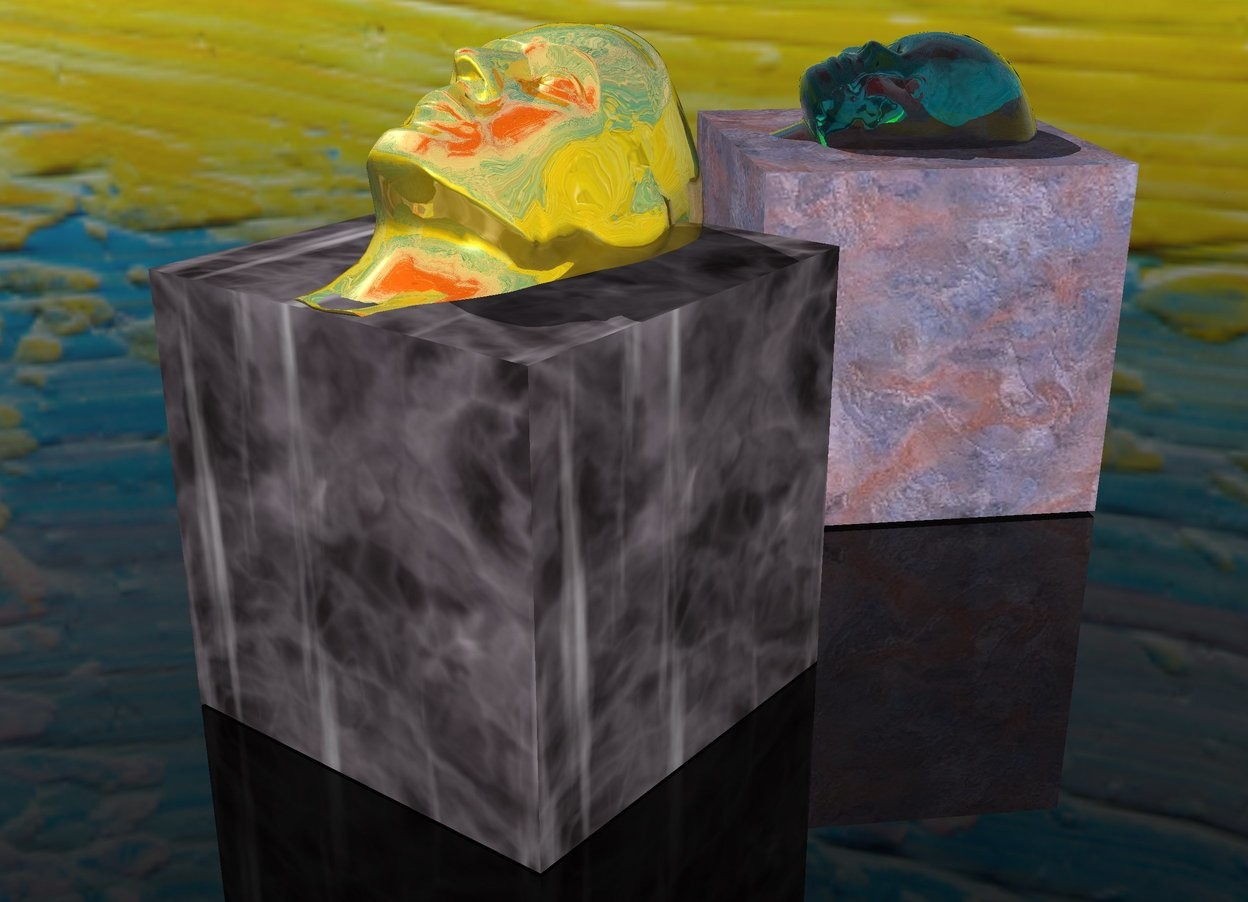 Input text: a first cube.a gold head is -6 inches above the first cube.the head is face up.the head is leaning 20 degrees to the south.the first cube is rock.a second cube is 6 inches behind the first cube.the second cube is facing southwest.the second cube is rock.a clear cyan head is -7 inches above the second cube.the clear cyan head is face up.the clear cyan head is facing southwest.the clear cyan head is leaning 30 degrees to the southwest.[paint]sky.clear ground.