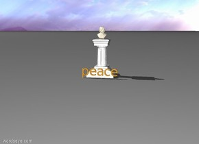 "the straw yellow ""peace"" is    a few inches in front of the pedestal. a man is on top of the pedestal."