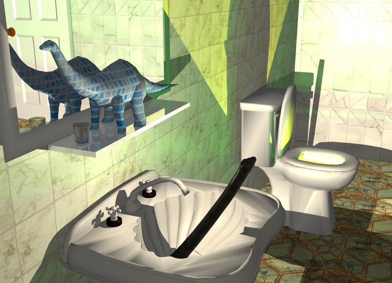 Input text: A tiny [modern] brontosaurus is on a large shiny white plank. The brontosaurus is facing west. The plank is in front of and -18 feet above a huge wall. The wall is 8 feet wide [tile] texture. A huge cream wall is right of the wall. It is facing west. It is 12 feet wide texture. A huge window is in front of the wall. The ground is 10 feet wide tile. The azimuth of the sun is 20 degrees. A huge toilet is -25 feet right of and -38.5 feet south of the wall. A huge sink is 14 feet left of and -9 feet in front of the toilet. A huge silver picture is behind the brontosaurus. A huge door is -5 feet right of and -7 feet south of the wall. It is facing east. An 8 inch tall and 7 inch wide and 7 inch deep glass is -2 foot left of the brontosaurus. A tiny dinosaur is -19 feet above and -11.5 feet in front of the sink. It is leaning 60 degrees to the back. Camera light is dark cream. A cream light is above the sink. A lemon light is in the toilet. 4 dim green lights are 1 inch above the light.