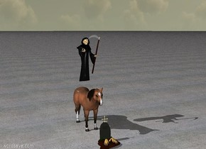 The grim reaper is on the horse.  The ground is concrete.  A grave is in front of the horse.