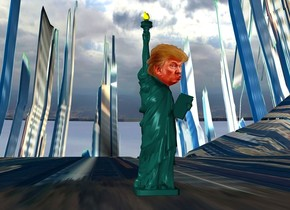 a 30 inch tall statue of liberty.the ground is [city].ground is 500 feet tall and 800 feet wide.a 7 inch tall head is -13 inch above the statue of liberty.the head is in front of the statue of liberty.the statue of liberty is 40 inch above the ground.